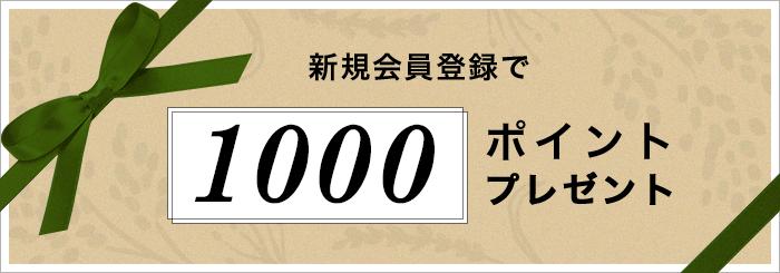 新規会員登録で「1000ポイント」プレゼント